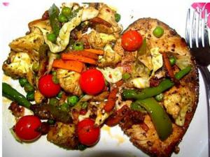 Herbed Fish with Stir Fried Vegetables