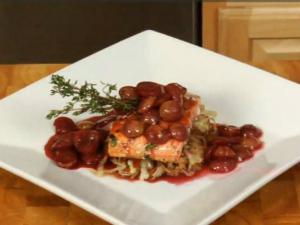 Pan Seared Salmon with Cabernet Infused Grapes and Pan Roasted Cabbage
