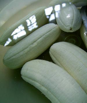 Frozen peeled bananas