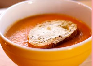Roasted Tomato Soup with Goat Cheese Pesto Croutons