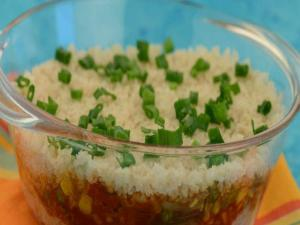 Jalfrazie Layered Brown Rice (Zero Oil, Low Calorie and Diabetic) by Tarla Dalal