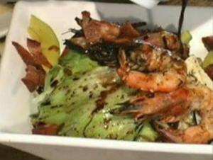 Grilled Shrimps with Iceberg and Blue Cheese Salad