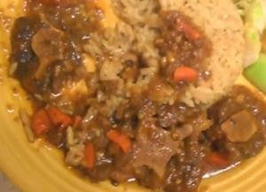 Sauteed Oxtails in Guyanese Style with Rice and Peas