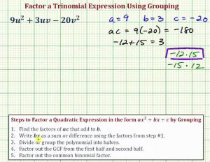 Factor A Trinomial In Two Variables Using Grouping