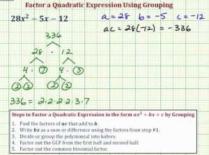 Factor A Quadratic Expression Using Grouping
