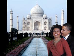 077 Obama And Michelle At Taj Mahal