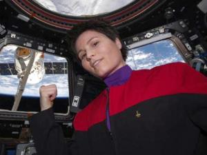 Astronaut Poses In Star Trek Uniform Aboard International Space Station