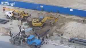 Creative Use Of Tools Excavator Used As Sledgehammer