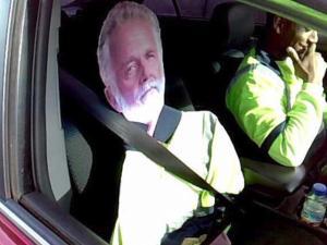 Most Interesting Man Cardboard Cutout Busts Carpool Lane Cheater