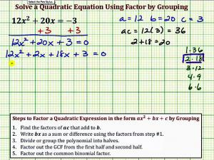 Solve A Quadratic Equation Using Factor By Grouping