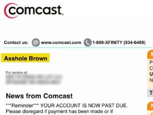 Comcast Calls Customer Ahole On Bill