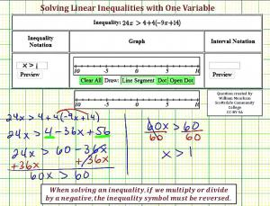 Ex Solve A Linear Inequality In One Variable