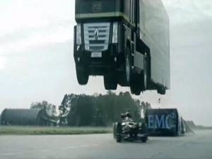 699517 Semi Truck Jumps Over An F 1 Car In Insane Record Breaking Video