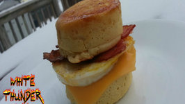 Maple Pancake Breakfast Sandwich Recipe - Bacon, Egg And Cheese On Maple Pancakes