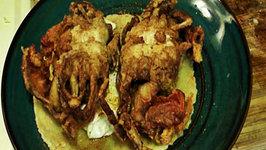 Sapo's Fried Soft Shell Crab Huevos Rancheros
