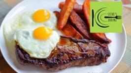 Steak, Egg and Chips