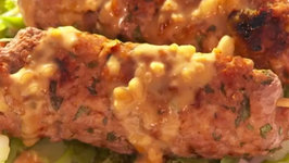 Thai Style Pork Kebabs with Asian Greens and Peanut Sauce