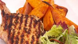 BBQ Pork Cutlets using Sweet Potato Wedges