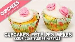 Cupcakes fte des mres au cur confiture de myrtille