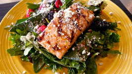 Nom's Tequila Grilled Salmon with Strawberry and Chipotle Vinaigrette