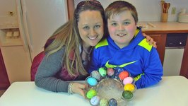 Betty's Daughter, Chelsea, and Grandson, Carter, Color Easter Eggs -- Easter