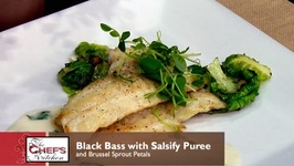 Chef Michael Adams- Black Bass With Salsify Puree, Brussel Sprout Petals Vignette