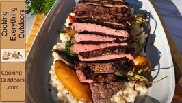 Grilled Steak, Roasted Vegetables and Risotto On The Grill