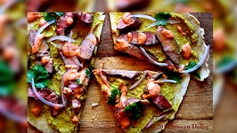 Lamb Flatbread with Curry Hummus and Harissa Crema recipe