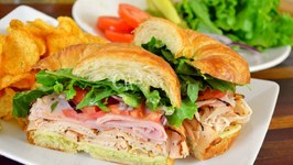 Blackened Turkey, Black Forest Ham And Pepper Jack Cheese Croissant Sandwich  Back to School Recipes