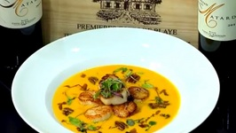 Valerie Cogswell - Maple Carrot Bisque With Seared Scallops Candied Bacon And Spiced Pecans