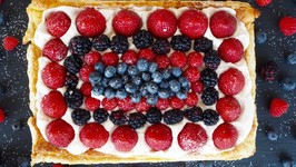 Dessert Recipe Red, White and Blueberry Almond Tart by Everyday Gourmet