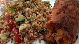 Crab Stuffed Chicken and Mediterranean Couscous Salad