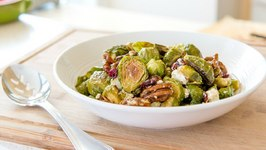 Warm Brussel Sprout Salad With Goat Cheese And Candied Pecans