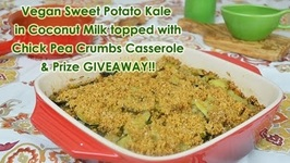 Thanksgiving Vegan Casserole Sweet Potato Kale in Coconut Milk with Chick Pea Crumbs