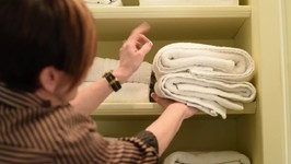 Towel Storage Hack  Interior Design  Spring Cleaning Ideas