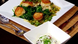 Chef Lee Styer-Sea Scallop Truffle Mushroom Risotto And Tuna Ceviche With Apple Kaffir Lime Broth