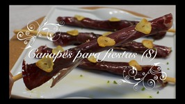 Canapes Para Fiestas 8  Palitos De Pate Y Cecina O Jamon Con Chips De Ajo