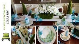 SpringEaster Tablescape And Dollar Tree Moss Floral Pot Centerpiece DIY