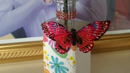 DIY Upcycled Bottle  Dollar Tree Napkin and Bling  Craft Ideas
