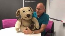 Ventriloquist David Strassman and Ted E Bare Visit Sick Kids