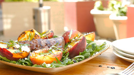 Seared Beef Sirloin and Grilled Peaches with Feta Cheese and Basil