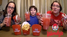 Wendy's Burgers, Fries And Strawberry Lemonade  Gay Family Mukbang - Eating Show