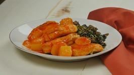 Pineapple Sriracha Chicken over Wild Rice with Spinach