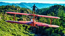 Wing Walker Jumps from Airplane - Wing Walking Stunts in 4K