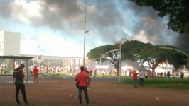 Smoke Billows from Burning Ministry Building During Anti-Temer Protest