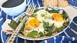 Breakfast Recipe- Baked Spinach And Ricotta Eggs