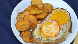 Open-Face Tuna Melt with Oven-Baked Sweet Potato Chips