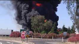Tanker Truck Burns on California Highway