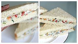 No Cook Cream Cheese Sandwich - Easy Breakfast Tiffin Snack
