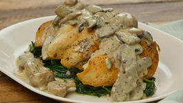 Chicken with Creamy Mushroom Sauce and Sauteed Greens with Pecans